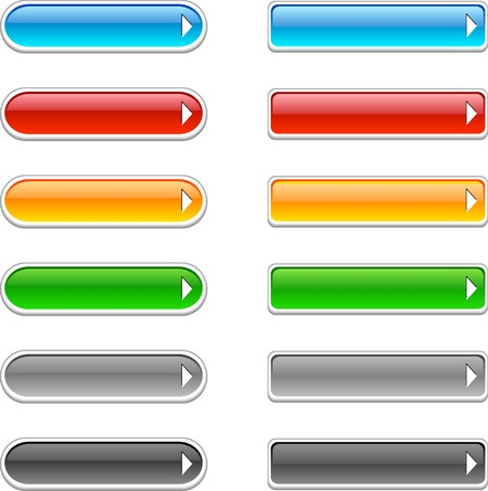 rectangle button: Beautiful shiny buttons. Vector illustration.