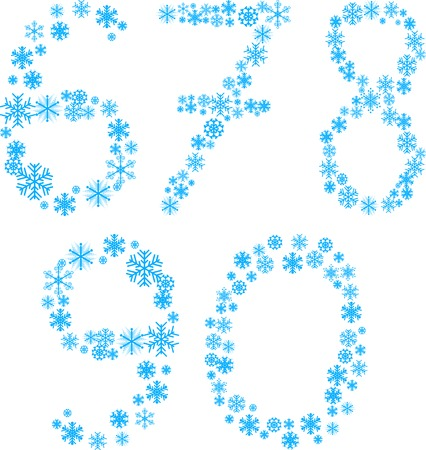 Five snowflake letters. Vector illustration.  Vector