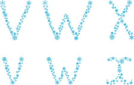 Three snowflake letters. Vector illustration.  Vector