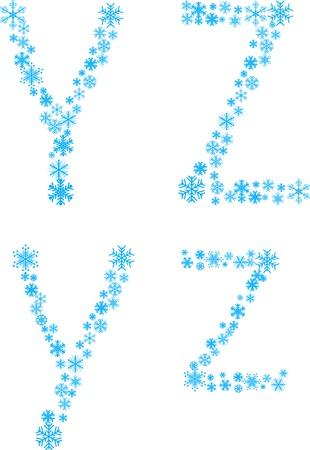 Two snowflake letters. Vector illustration. Stock Vector - 3590312