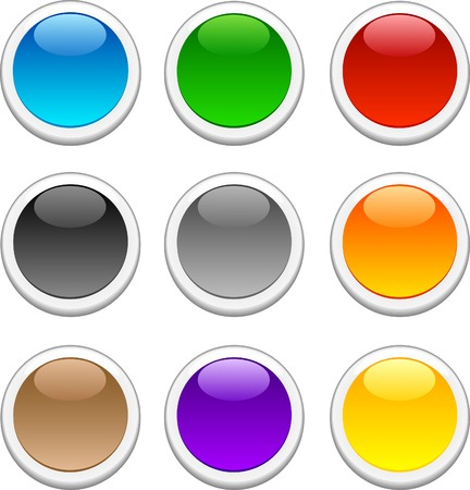 Beautiful shiny buttons. Vector illustration. Stock Vector - 3632038