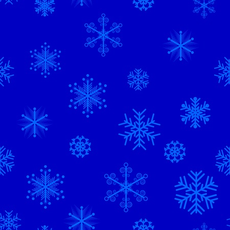 Blue snowflakes seamless background. Vector illustration.  Vector