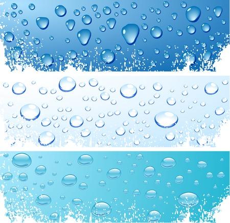 Three wet surfaces. Vector illustration. Vetores