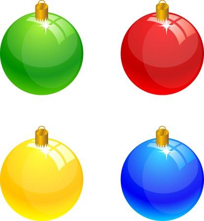 Four christmas balls. Vector illustration.  Vector