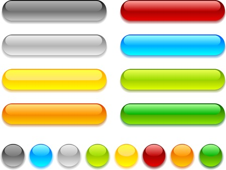 Web shiny buttons. Vector illustration. Stock Vector - 3849767