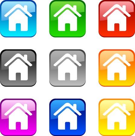 Home shiny buttons. Vector illustration.  Illustration