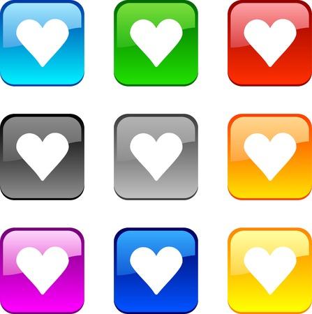 Love shiny buttons. Vector illustration.  Vector