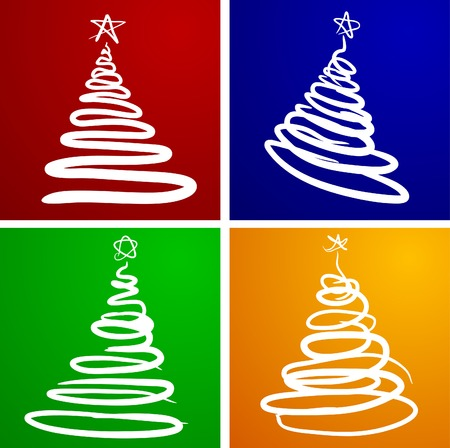 Beautiful Christmas trees. Vector illustration. Vector