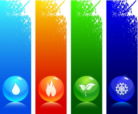 reflejo en el agua: Hermoso brillante bolas. Ilustraci�n vectorial.