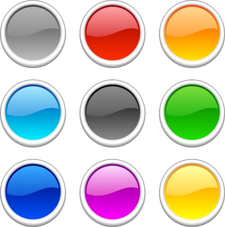 Web shiny buttons. Vector illustration. Stock Vector - 3982498