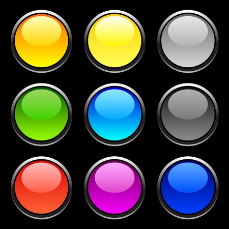 Web shiny buttons on black.  Stock Vector - 3982495