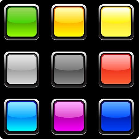 Web shiny buttons on black.