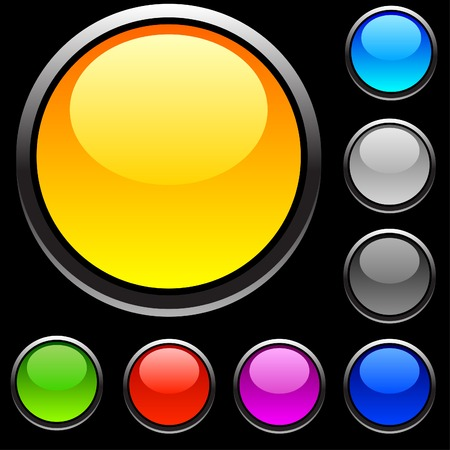 Web shiny buttons on black.  Stock Vector - 4294191