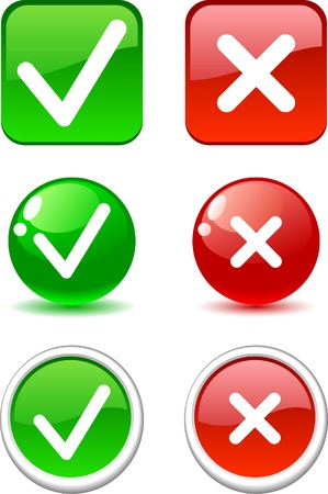 proceed: Set of validation buttons. Vector.