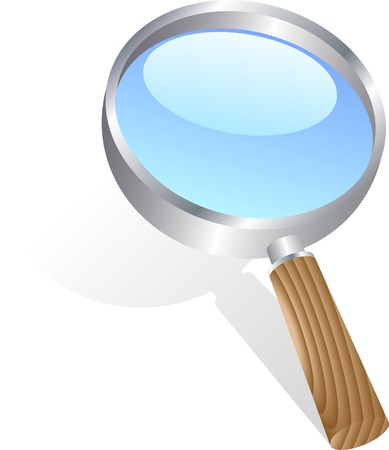 Icon of magnifying glass. Vector illustration.