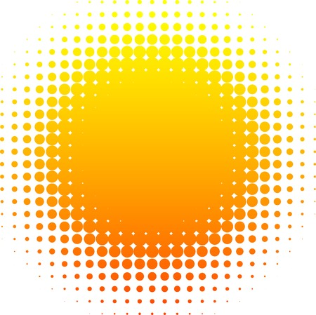 Orange halftone sun. Vector illustration.  Vector