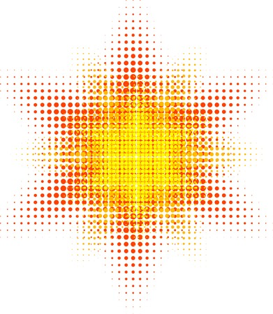 Orange halftone sun. Vector illustration.  Illustration