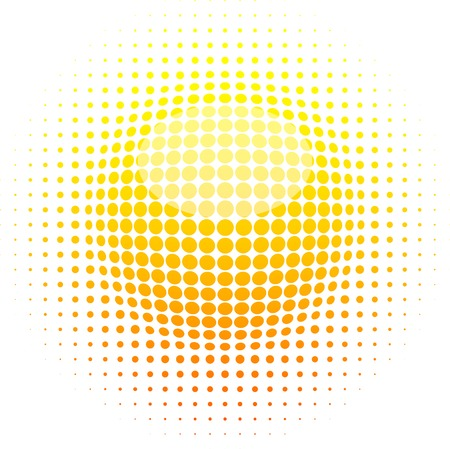 Orange halftone sun. Vector illustration. Vector Illustration