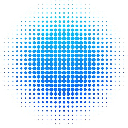 toned: Blue halftone sun. Vector illustration.