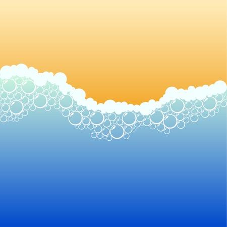 Coastline with foam. Vector illustration.