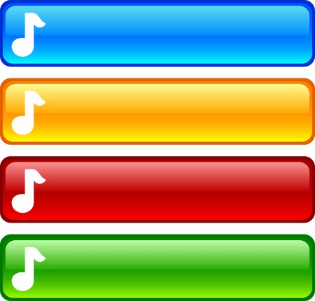 Music glossy buttons. Vector illustration.