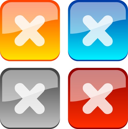 Cancel glossy buttons. Vector illustration.  Vector