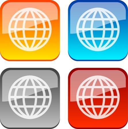 World glossy buttons. Vector illustration.  Vector