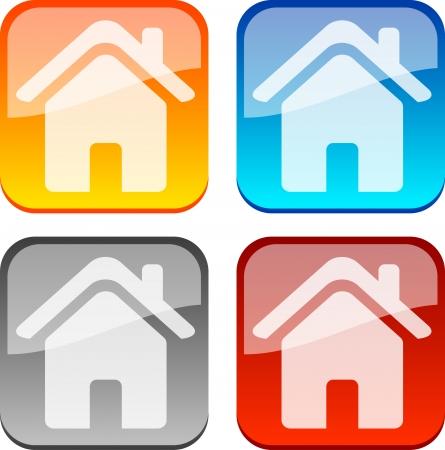 icono inicio: Casa brillante botones. Ilustraci�n vectorial.