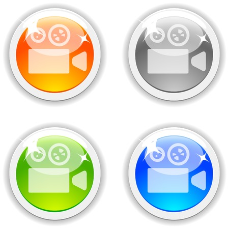 Cinema  realistic buttons. Vector illustration.