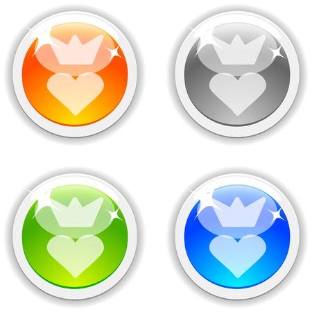 Queen  realistic buttons. Vector illustration.  Vector