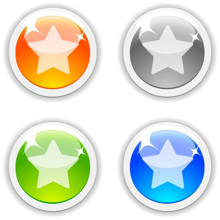 Favorite realistic buttons. Vector illustration.