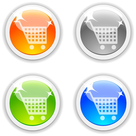 Shopping realistic buttons. Vector illustration. Stock Vector - 4767546