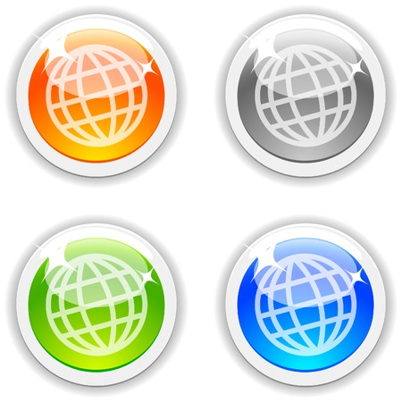 Earth realistic buttons. Vector illustration.  Vector