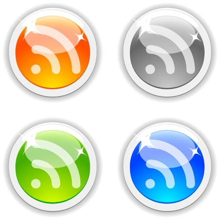 RSS realistic buttons. Vector illustration.  Vector