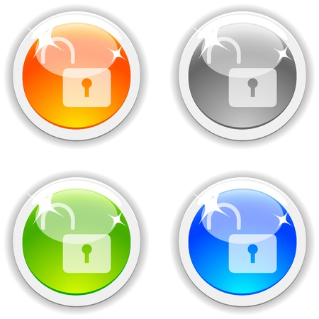 Padlock realistic buttons. Vector illustration. Stock Vector - 4767520