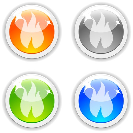 Flame realistic buttons. Vector illustration.