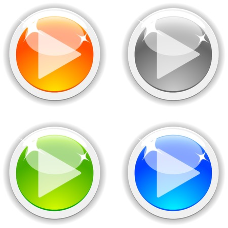 Play realistic buttons. Vector illustration. Stock Vector - 4847887