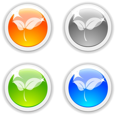 Leaves realistic buttons. Vector illustration.  Vector