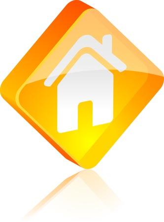House glass button. Vector illustration.  Vector