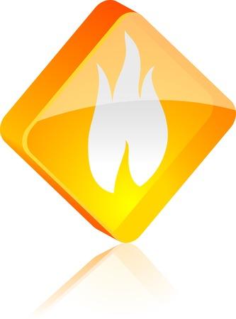 Fire glass button. Vector illustration. Stock Vector - 4911266