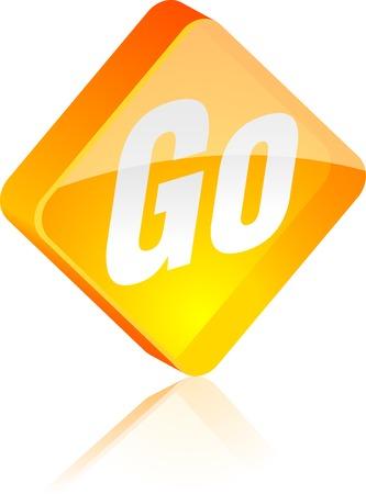 Go glass button. Vector illustration.  Stock Vector - 4920602