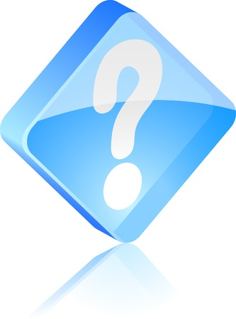 Question glass button. Vector illustration.  Vector