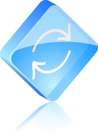 Refresh glass button. Vector illustration.  Stock Vector - 4920618