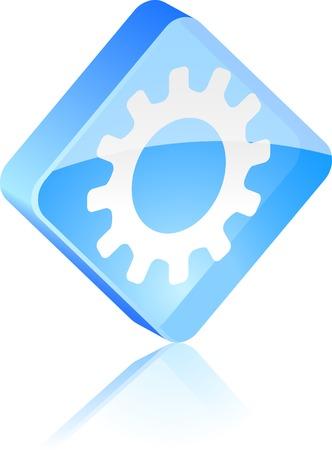 Settings glass button. Vector illustration. Stock Vector - 4920661