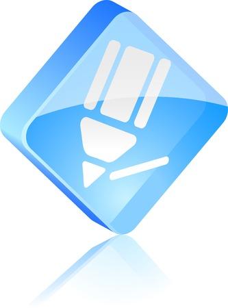 Pencil glass button. Vector illustration. Stock Vector - 4920668
