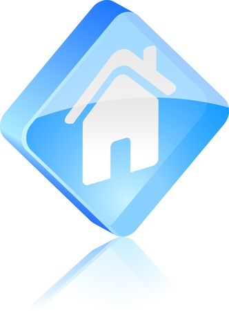 Home glass button. Vector illustration.  Vector