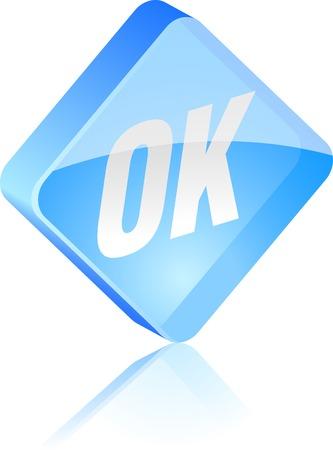 Ok glass button. Vector illustration. Stock Vector - 4920633