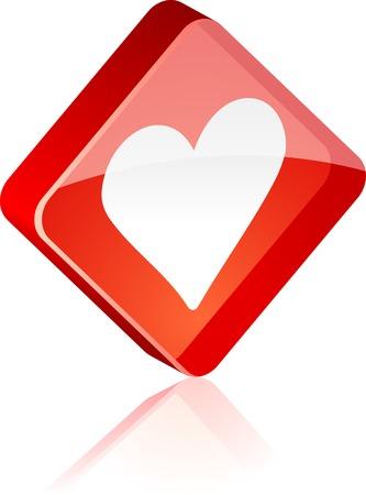 Love glass button. Vector illustration.  Stock Vector - 4920603