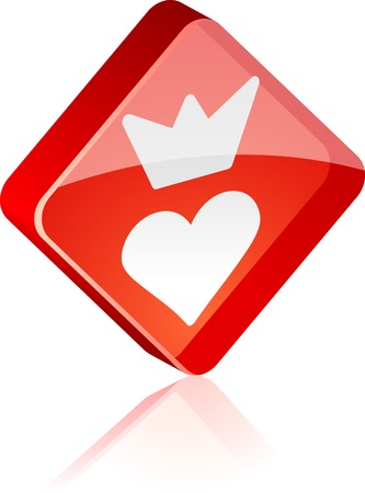 Sweetheart glass button. Vector illustration.  Stock Vector - 4920614