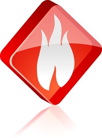 Fire glass button. Vector illustration.  Stock Vector - 4920615